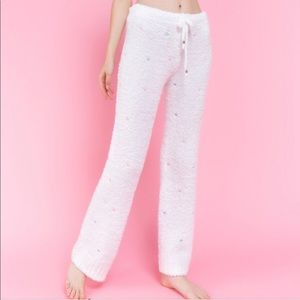 White Lounge Pants with Embroidered Hearts